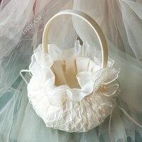 Top quality Wedding Basket lace Satin Ceremony Wedding Decoration Love Case Basket Storage Flower Girl Basket Container