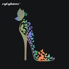 Rylybons Butterfly High-heeled Shoes Full Body Car Sticker Styling Decoration Door Body Window Decals Car Bumper Vinyl Sticker cheap The Whole Body cartoon Glue Sticker Stickers Not Packaged 13cm Car Body 17 1cm decor stickers car-styling car styling Fashion attacking bees sticker