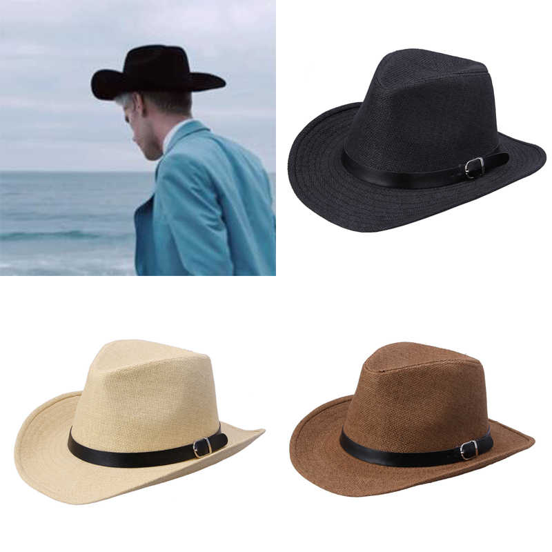 477cc1695 Men Women Fashion Western Cowboy Hat Gentleman Cowgirl Jazz Church Sombrero  Sun-proof Caps Retro Vintage Panama Hat