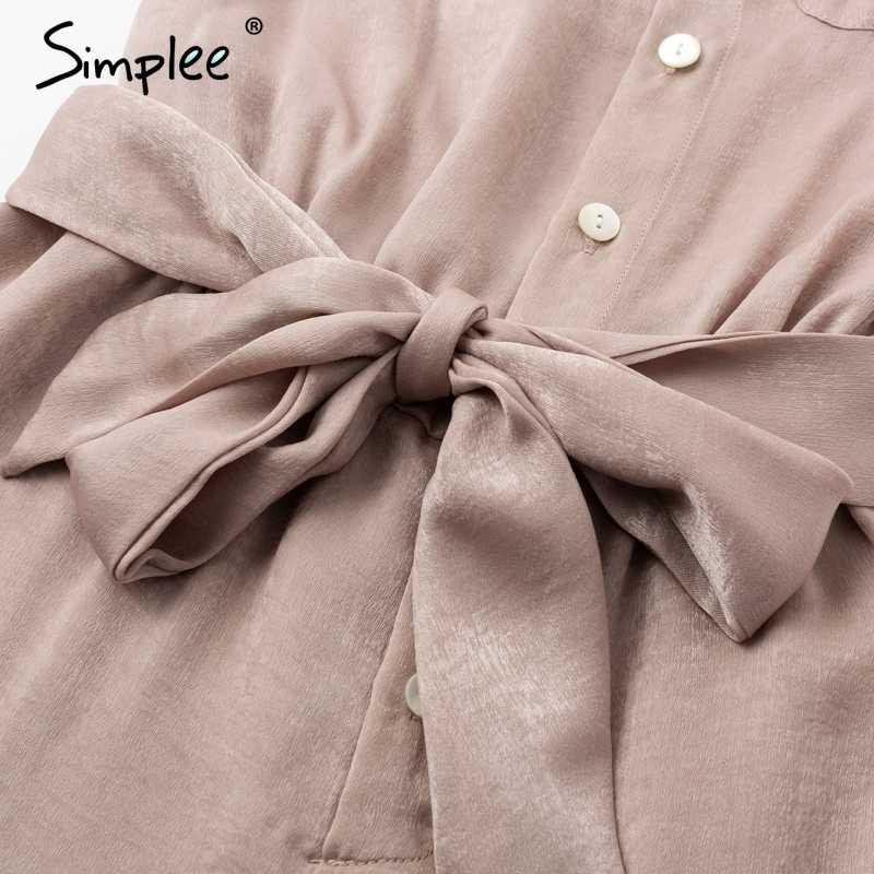 Simplee elegante fajas botones de satén de manga larga mujeres mono verano bolsillos cintura elástica romper Oficina señoras playsuit 2018