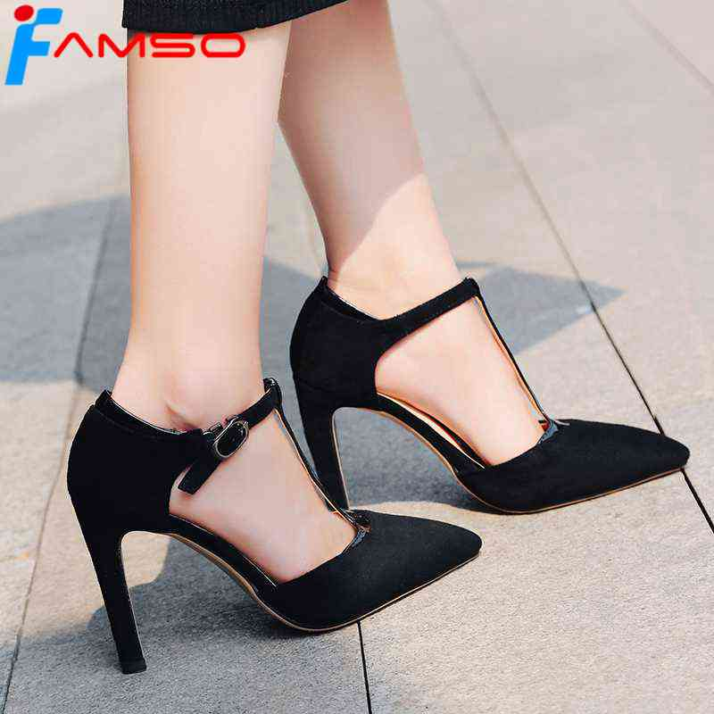 FAMSO 2018 New Fashion Shoes Women Sandals Black red T-Strap Wedding Pumps Pointed toe Sexy Women's Party High Heels Sandals ladies red shoes 2018 spring patent cross straps gladiator pointed toe sandals women high heels party wedding pumps shoes 43