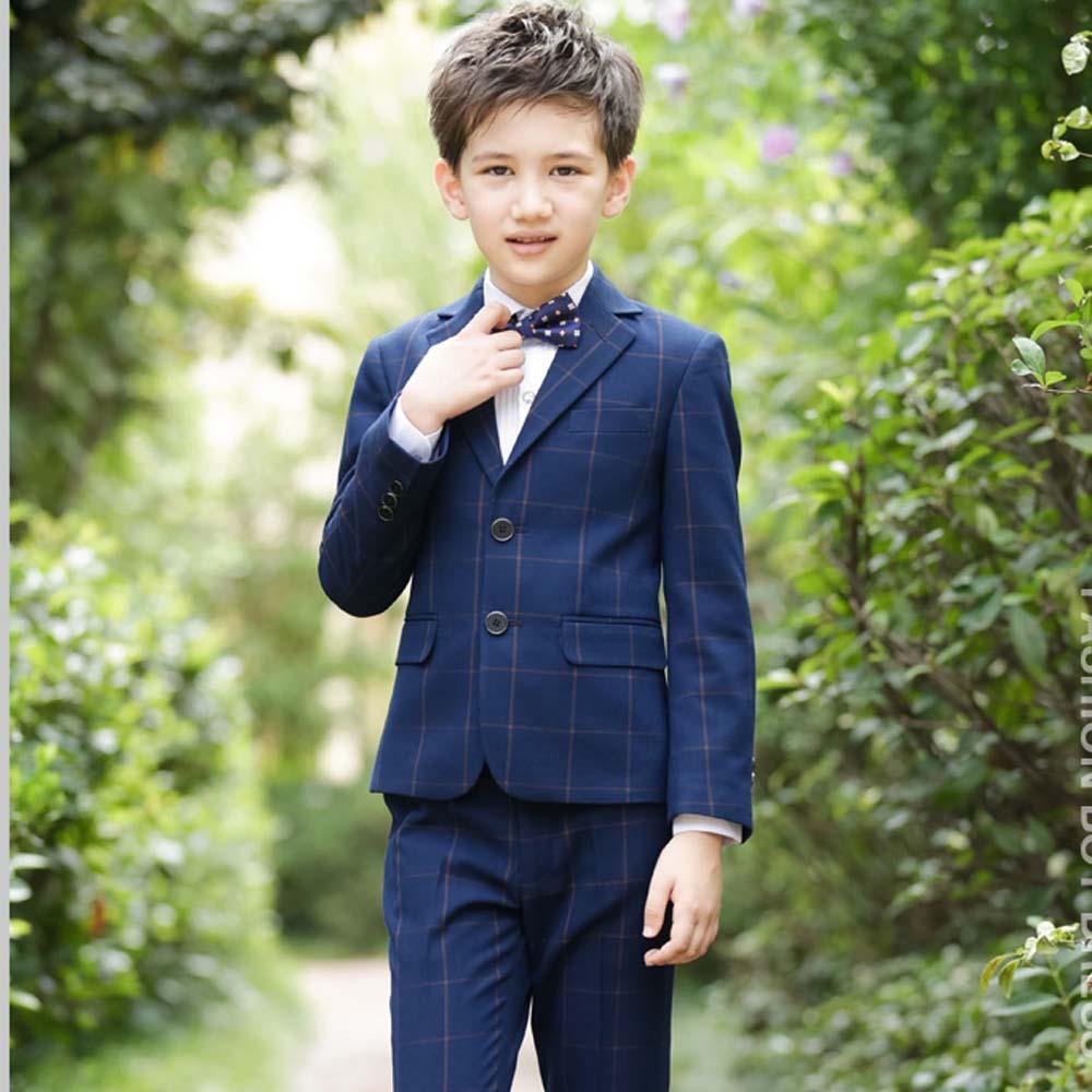 все цены на Boys Plaid Blazers Suit for Weddings Party Jacket+Blouse+Tie+Pants 4 pieces/set Children Costume Garcon Marriage Clothes B081