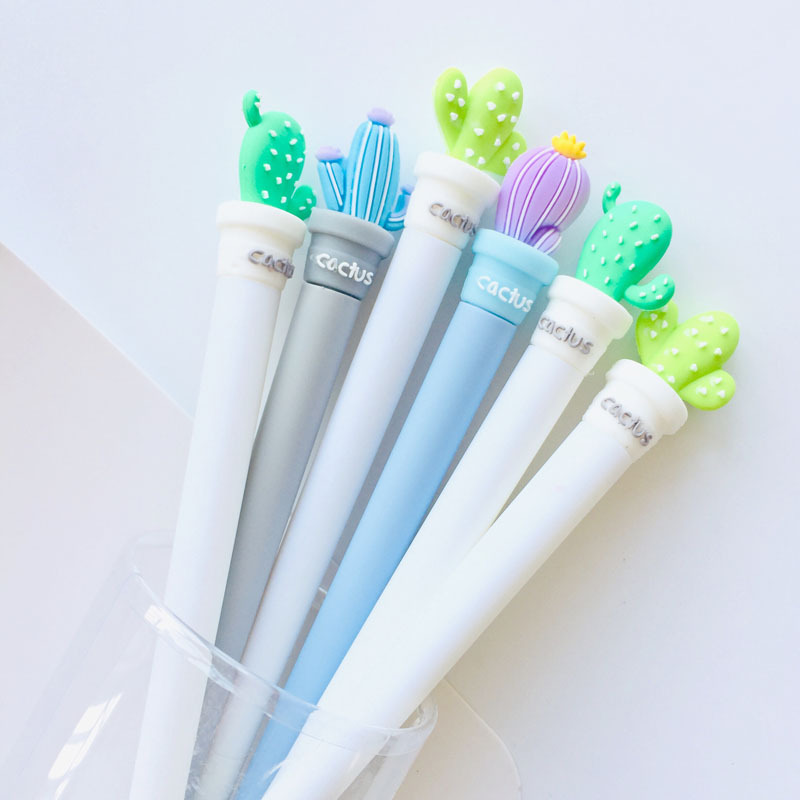 24 Pcs/lot Potted Creative Cactus Gel Ink Pen Promotional Gift Stationery School & Office Supply Birthday Gift