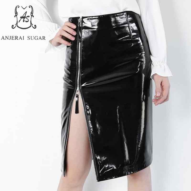 417e51f76d52 Spring Real sheepskin Genuine leather skirts women sexy slim black Package  hip OL female zipper Side