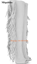 New Arrival Women Sexy White Suede Leather Knee High Tassels Gladiator Boots Open Toe Long High Heel Wings Boots Dress Shoes