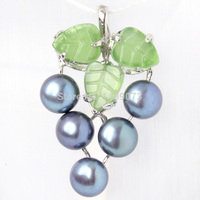 FREE SHIPPING FASHION STYLE 7MM NATURAL FRESHWATER PEARL GREEN JADE GRAPE SHAPE WHITE GOLD SILVER PLATED