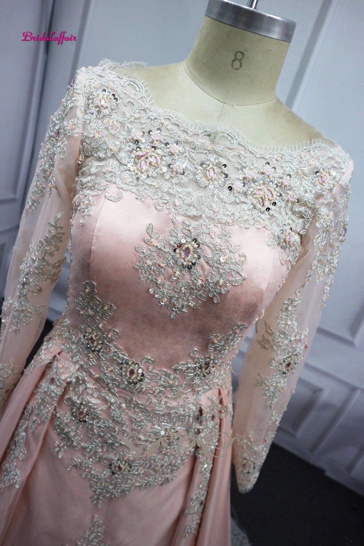 2018 manches longues vraie robe de soirée longues robes de bal vidéo avec dentelle d'or perles longueur de plancher Satin robe formelle robe de soirée - 3
