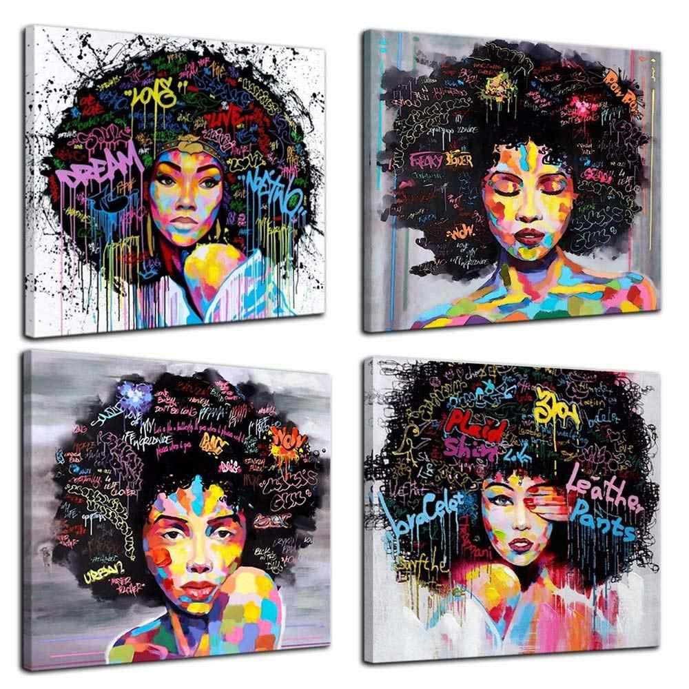 4 панели в Африканском и американском стиле холст Спальня Декоративные наклейки для дома стены искусства холст живопись граффити абстрактный стиль плакат печать живопись