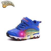 Dinoskulls Boy Winter Led Light Up Shoes Children Snow Boots Kids Winter Warm Fleece Shoes Dinosaur Shoes botas 27 34