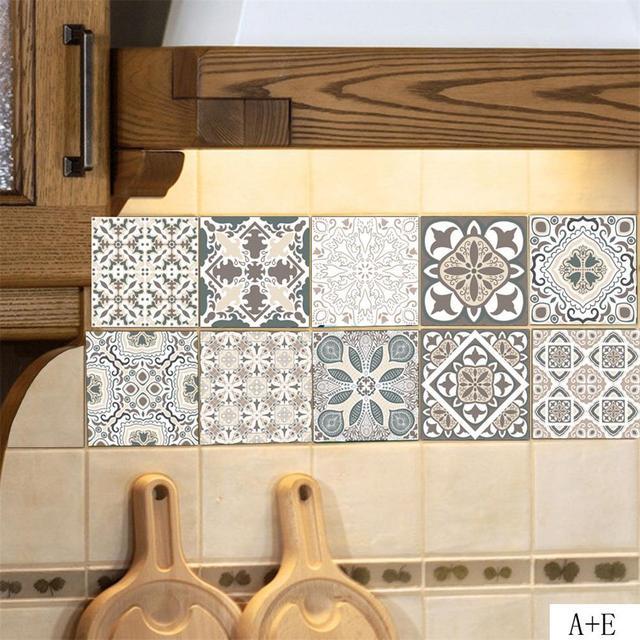100 20cm Retro Pvc Decorative Wall Stickers Home Bedroom Kitchen Decoration Accessories Diy Removable Tiles