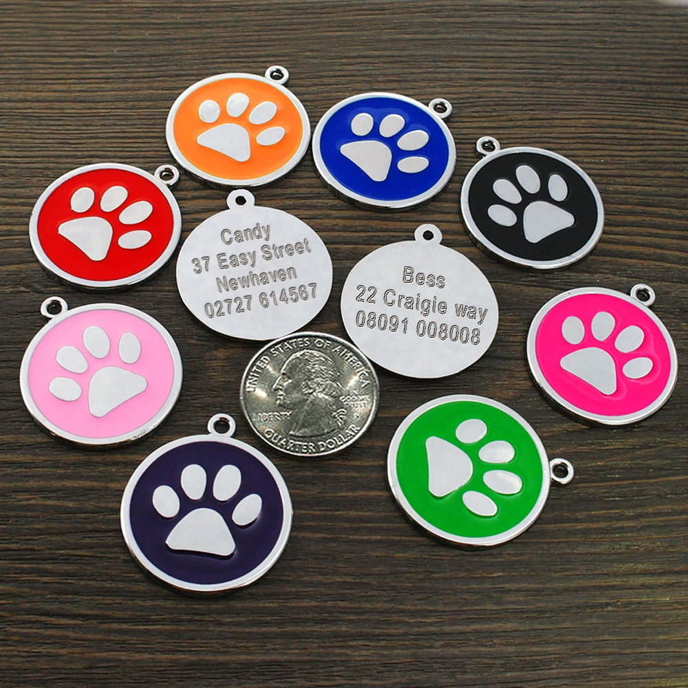 Custom Dog Tag Engraved Pet Dog Collar Accessories Personalized Cat Puppy ID Tag Stainless Steel Paw Name Tags Pendant Anti-lost 3