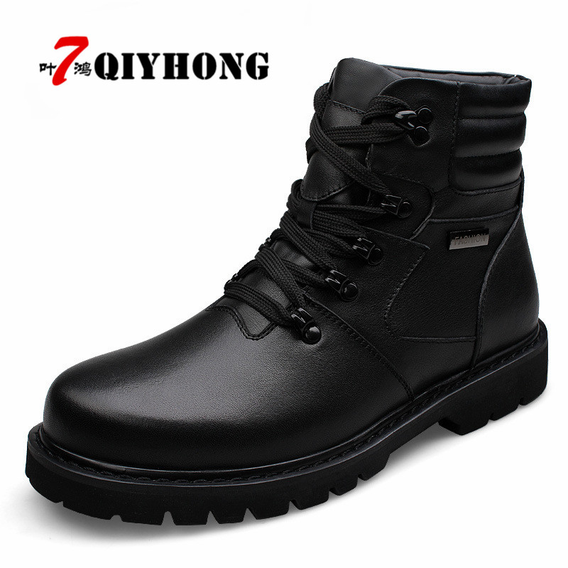 QIYHONG Big Size Men Leather Boots Winter Warm Men Motorcycle Boots 100% Real Leather Men Ankle Boots Glitter Genuine Leather qiyhong brand waterproof winter warm snow boots men cow split leather motorcycle ankle fashion high cut male casual clearance