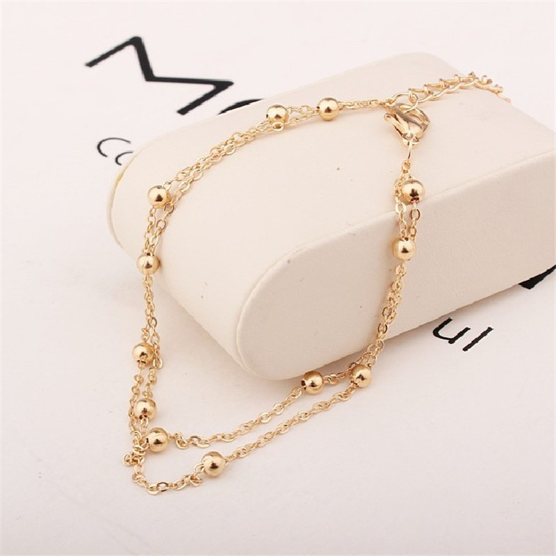 M MISM Gold Silver Plating Chic Ankle Chain & Bracelet  Multilayer Wedding Bridal Beads Foot Anklet Leg Ornaments For Woman