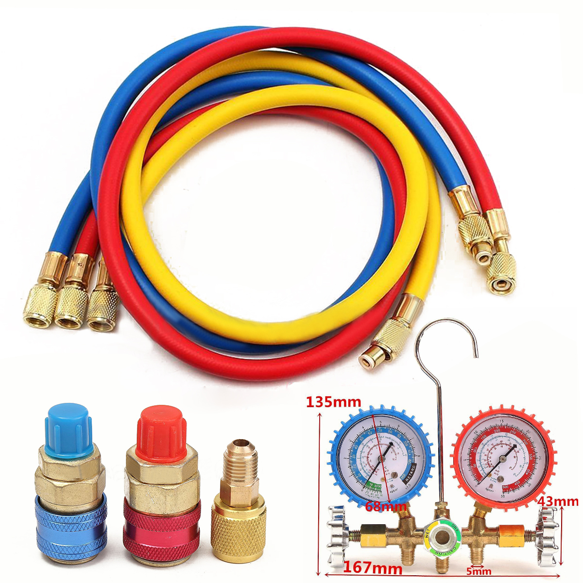High Pressure Refrigerant Manifold Gauge R134a R12 R22 R502 HVAC A/C Charging Hose 90cm with Quick Couplers Mayitr r134a r12 r22 r404a a c manifold gauge set with hose for household automobile a c air conditioning