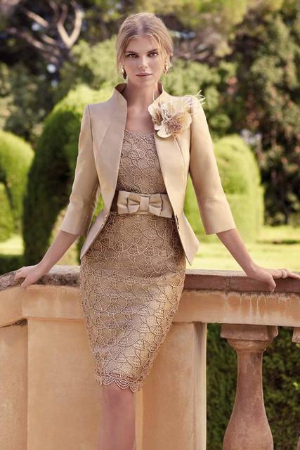 Champagne Bainha Glitter Frisada Mãe da Noiva Vestidos Com Jacket Joelho mãe dos vestidos de noiva plus size M11