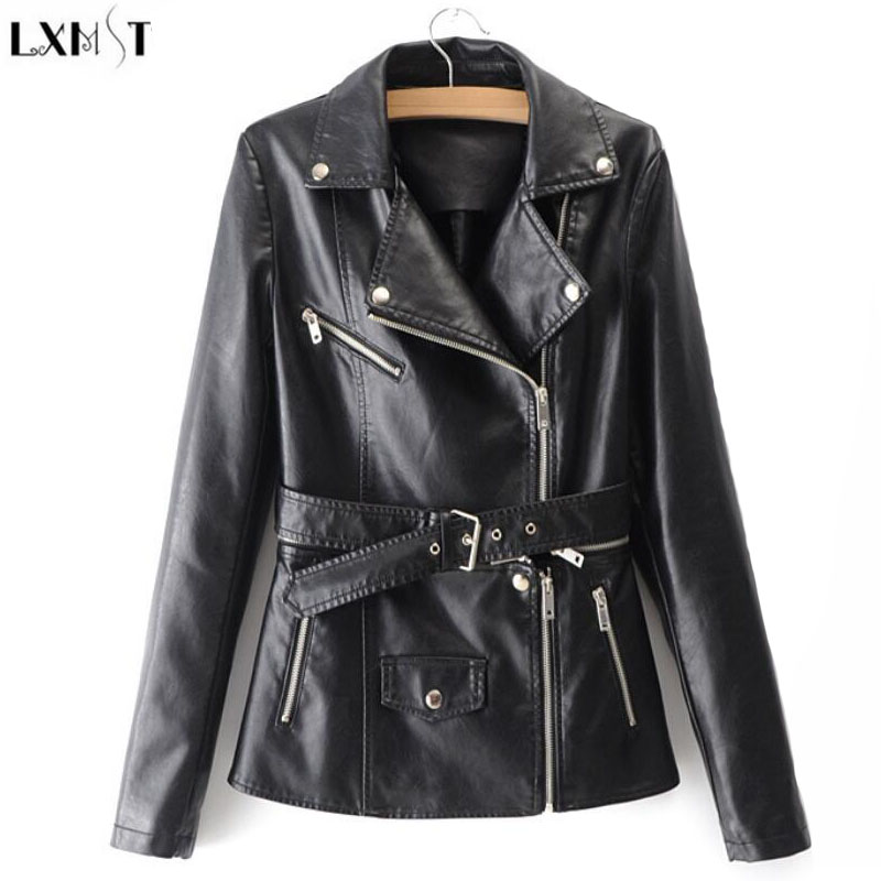 LXMSTH 2019 Spring jacket Casual Faux   Leather   Coats Women Long Sleeve Fashion Slim Zipper PU   Leather   Coat With Belt Pink Black