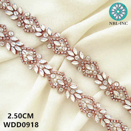 (1 yard) Bridal beaded sewing silver rose gold crystal rhinestone applique  trim iron on 04a0269e6207