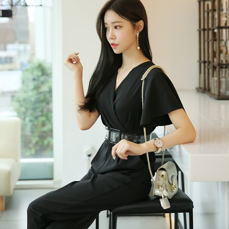 9309bb60026d Yellow Jumpsuit Fashion Nova Woman Ruffle Short Sleeve V Neck With  Transparent Belt High Quality Black Clothes Summer Romper-in Jumpsuits from  Women s ...