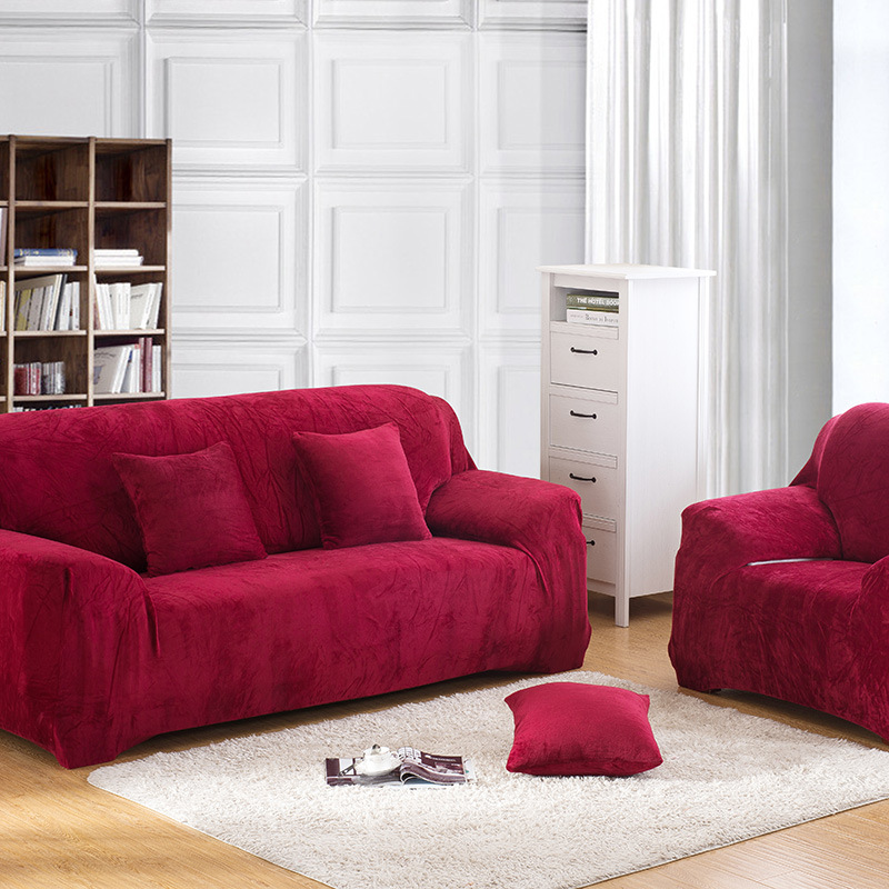 Thick Velvet Plush Sofa Slipcover Pixel Stretch Fashion Couch