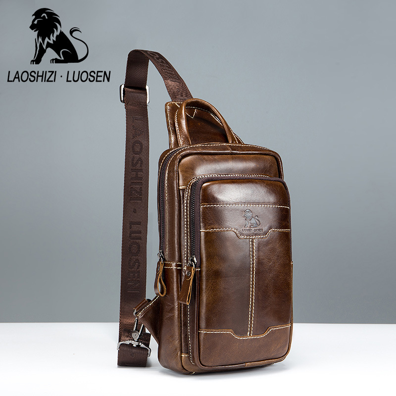 Vintage FAMOUS Brand Chest Bag Pack Messenger Bag Male Shoulder Bags Cow Leather Crossbody Bag Multifunction Wax Oil Leather high quality cow leather women bag vintage oil leather wax smiley crossbody bag summer bags 4colors cute pig face bag 3025
