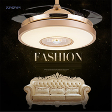цены 42 inch Modern Invisible Fan lights Acrylic Leaf Led Ceiling Fans 110v-220v Wireless remote control ceiling fan light 42-YX0098