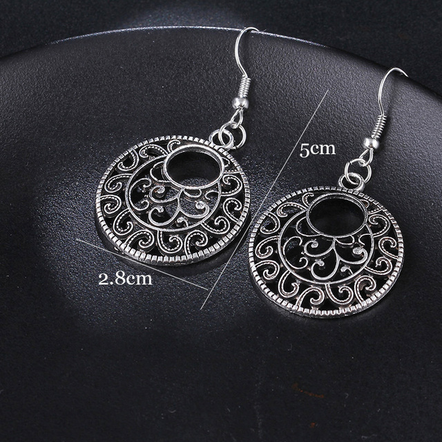 RscvonM New Boho Vintage Tibetan Silver Round Ear Hook Tribal Earrings Retro Big Flower Long Hanging Earrings Statement Jewelry 1