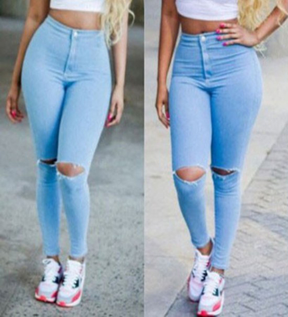 ee7b6e926a4 Women High Waist Ripped Ultra Stretch Skinny Jeans Slim Pencil Pants Knees  Cut-off Full Length Light Blue CLP067
