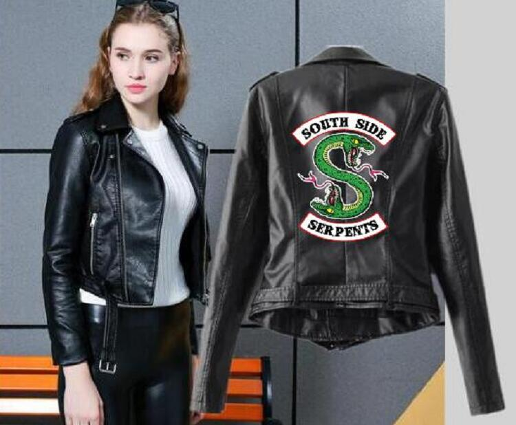 2019 Riverdale Women's PU Leather Jacket Fashion Motorcycle Jacket Short Southside Serpents Artificial Leather Motorcycle Coat