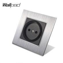 цена на Metal 16A EU Russia Socket Wallpad 86*86mm 110V-240V AC Silver Metal Panel Wall Power Supply 16A 2 Pin Russia Socket with Claws