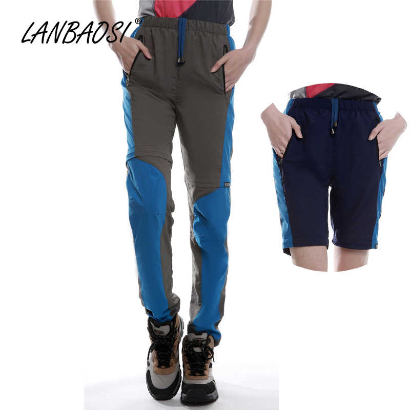 4ef309fd7bd1 LANBAOSI Outdoor Sports Women s Zip Off Leg Hiking Pants Convertible Qucik  Dry Anti-uv Trekking