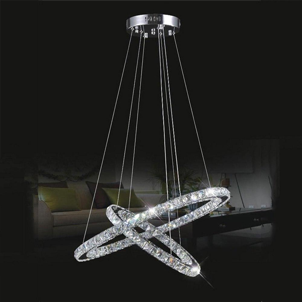 ФОТО Modern LED K9 Crystal Chandeliers Pendant Lamp Lighting with 2 Rings D6080cm Ac100V-240V LED Cool White Ceiling Lights Fixtures