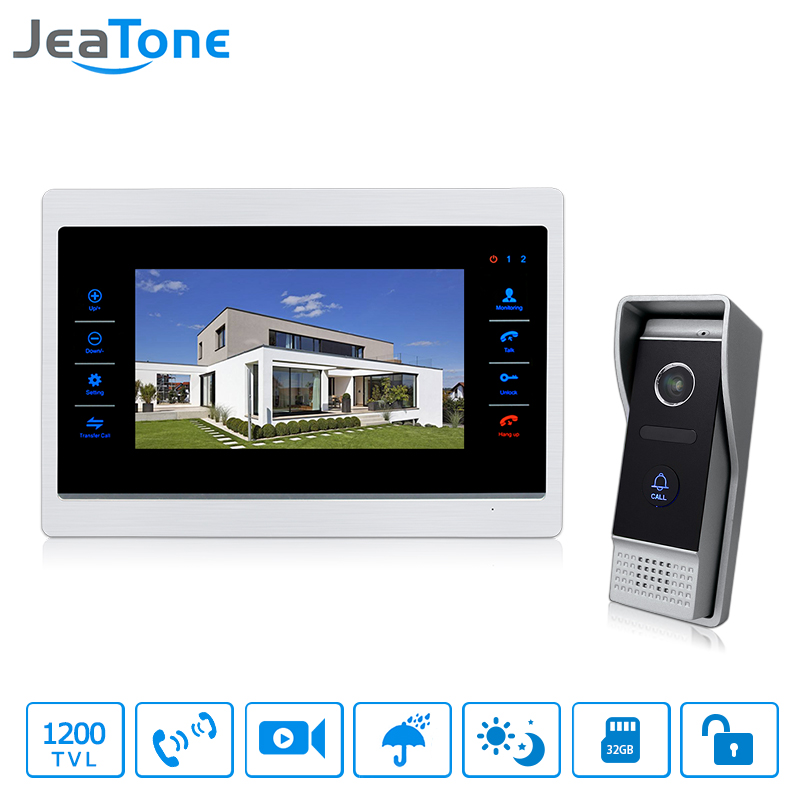 JeaTone 7 HD Color Touch Button Video Door Phone Intercom Indoor Monitor & 1200TVL IR Doorbell Camera Home System homefong 7 tft lcd hd door bell with camera home security monitor wire video door phone doorbell intercom system 1200 tvl