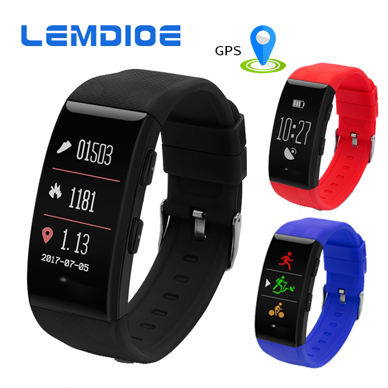 LEMDIOE DW06 GPS Sports Bracelet IP68 Waterproof Fitness Tracker Smart Band Heart Rate Smart Wristband with Color Screen Watch fs08 gps smart watch mtk2503 ip68 waterproof bluetooth 4 0 heart rate fitness tracker multi mode sports monitoring smartwatch