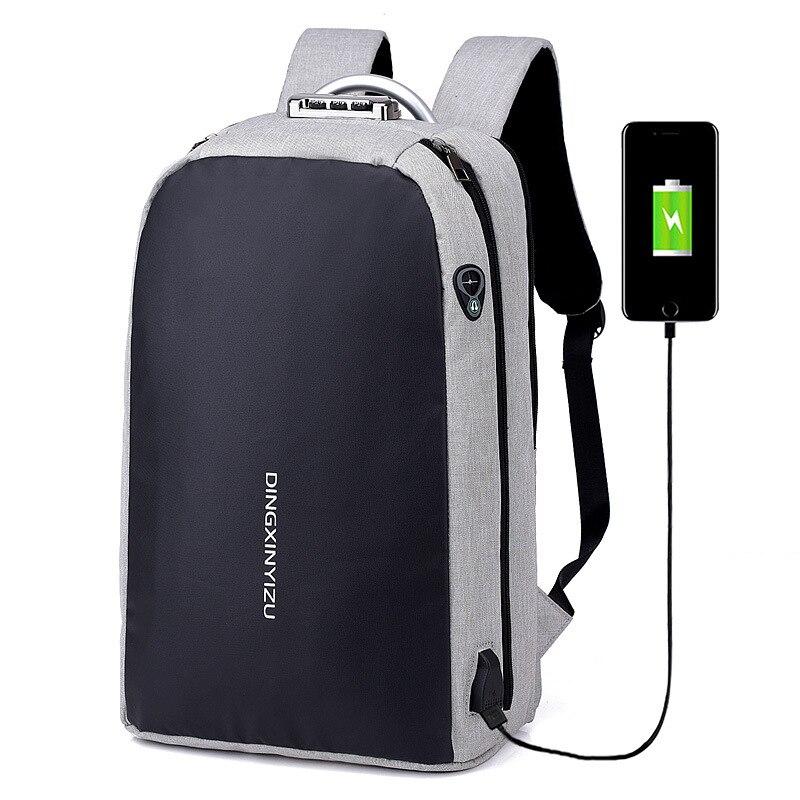Sac à dos hommes USB de charge d'affaires ordinateur portable sac grande capacité étanche Garde contre le vol serrure à combinaison sacs à dos de voyage