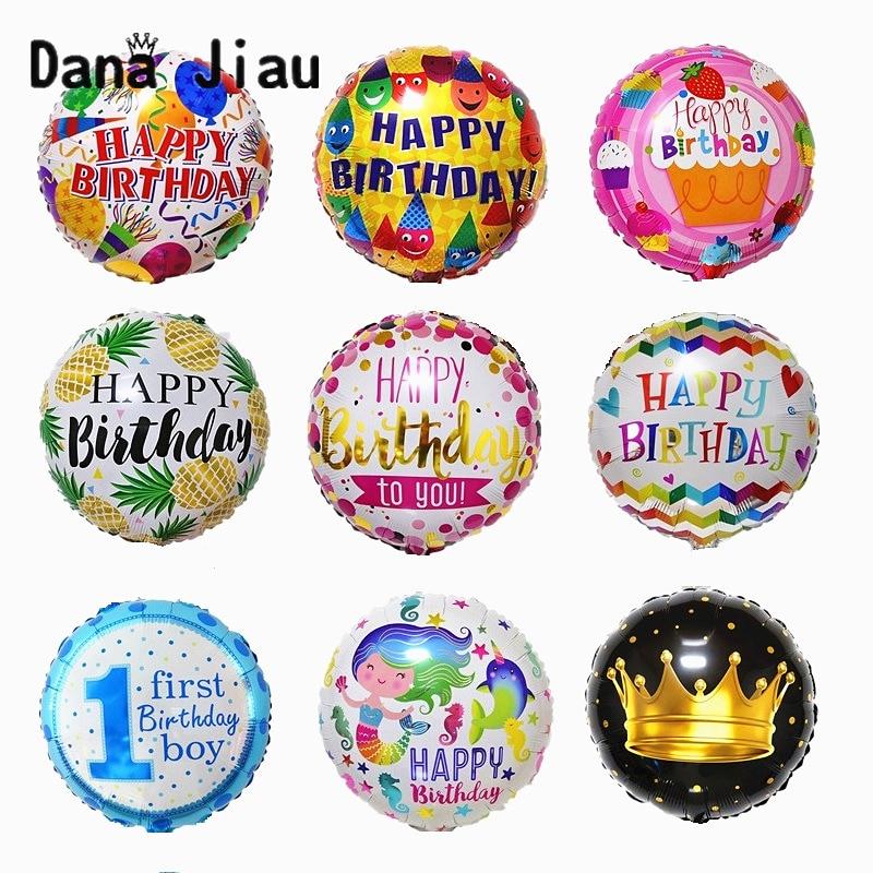18 дюймовые фольгированные шары «С Днем Рождения», вечерние воздушные шары с милой фруктовой короной, праздничные надувные шарики из алюмин...