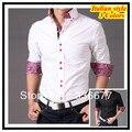 Италия дизайнер пуговица вниз воротник приталенный fit длинный рукав печатает рубашка для мужчины де-лос-hombres camisa QR-1346