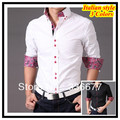 Free shipping Italian designer button down Collar Slim fit Long Sleeve Prints shirt for men Hombres de camisa QR-1346