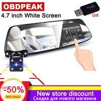 Car Dvr 4.7 inch Touch car rearview mirror 1080P Full HD car driving video recorder 1600Megapixel camera dash cam dual lens