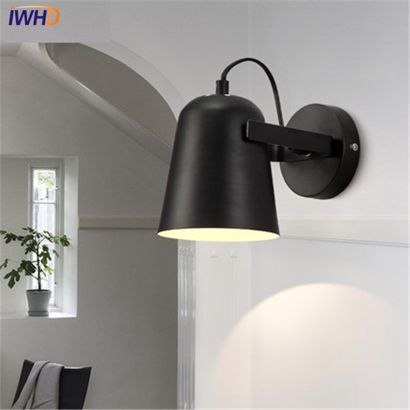 Iwhd Simple Moderne Led Applique Murale Abat Jour Ajuster Fer
