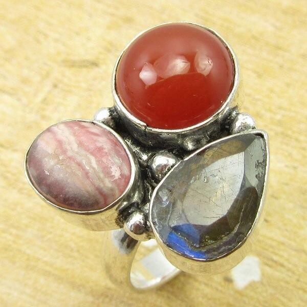 Серебряный наложения сердолик, Имитация Рубин, rhodhocrosite кольцо ручной работы Размеры 9