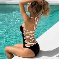 Sexy maiô de uma peça 2018 monokini cruz bandagem sem costas maiô feminino triquini push up trikinis banho brasileiro