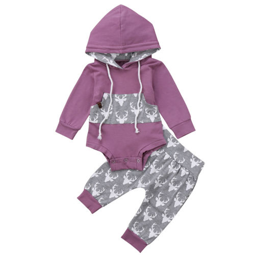 Newborn Baby Boy Girl Deer Romper Hooded Tops Pants 2Pcs Outfits Set Clothes Infant Toddler Boys Girls Print Warm Brief Clothing