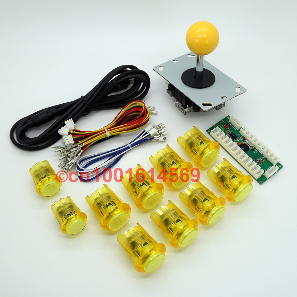 Reyann LED Arcade Game Cabinet DIY Kit Zero Parts USB Encoder Board + Joystick + 10 X Lighted Push Button for MAME Game Yellow