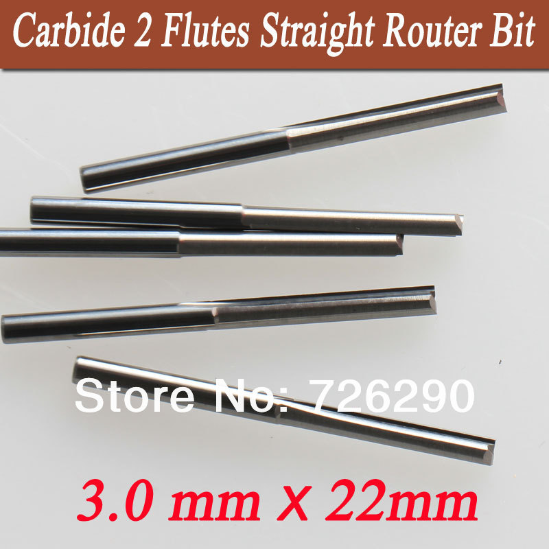 5 pcs 3.175*3.0*22mm 2 Flutes Straight Knife , CNC Router Bits, cutters on wood,Plywood, MDF, tools for woodworking 2pcs two flutes straight v bit plywood