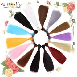 Allaosify волос refires bjd волос 15 см * 100 25 100 черный, розовый белый серый цвет Длинные прямые парик для кукол для 1/3 1/4 DIY