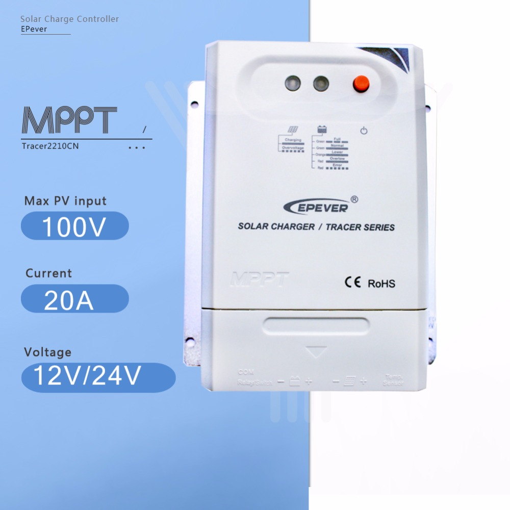 Tracer 2210CN 20A Mppt Solar Charge Controller 12V/24V Auto Solar Panel Battery Charge Regulator with Light and Time Controller tracer 4215b 40a mppt solar panel battery charge controller 12v 24v auto work solar charge regulator with mppt remote meter mt50