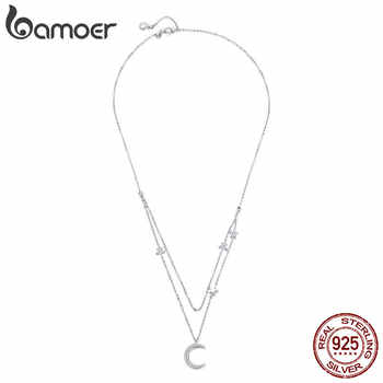 BAMOER Genuine 925 Sterling Silver Moon & Star Double Layers Chain Pendants Necklaces for Women Sterling Silver Jewelry BSN038 - DISCOUNT ITEM  30% OFF All Category