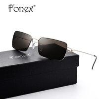 FONEX No Screw Welding Design Men Cool Square Sunglasses Men Top Famous Brand Designer Mirror Driving