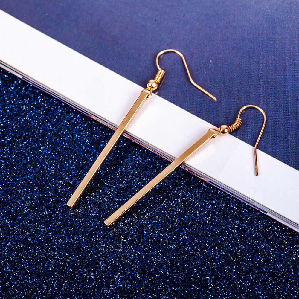 ecd2b5fb8 ... Long Straight Strip Gold Silver Plated Dangle Earrings Women Tassel  Earring Vintage Accessories Fashion Ear Jewelry ...