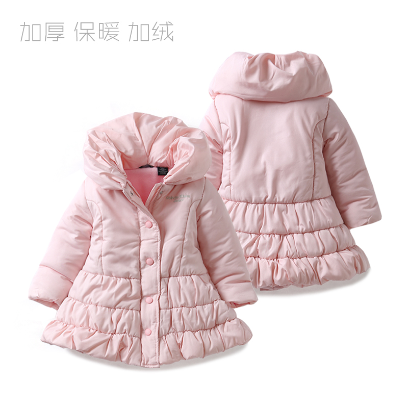 New 2016 autumn winter Coats and jackets kids clothes baby girls wadded jacket children pink princess warm jacket